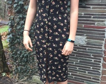 Floral Print Dress- Button Up, Button Down, Donna Ricco, Vintage, Retro, Hipster, Trendy