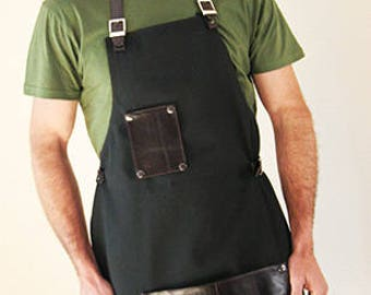 Fabric and leather apron cook, fashionable cook,
