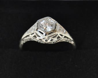 Stunning 1920's Art Deco Gold and Diamond Engagement Ring