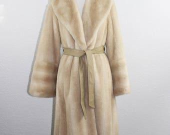 VINTAGE - 1970's Faux Fur Coat w/Naugahyde Belt