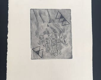 Hand Etching Print Anxiety Art Itaglio