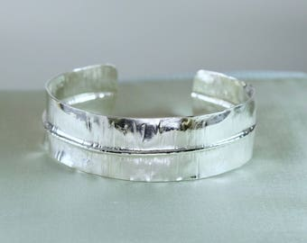Sterling silver fold-form cuff bracelet