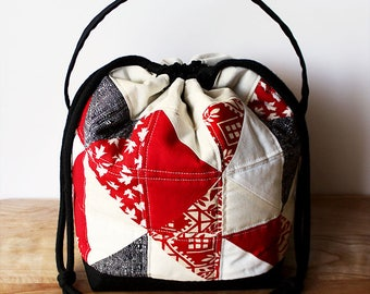 Uncommon Lunch Tote - Quilted, patchwork, drawstring, pouch, bag, purse, japanese, asian, red, black, white, quilt