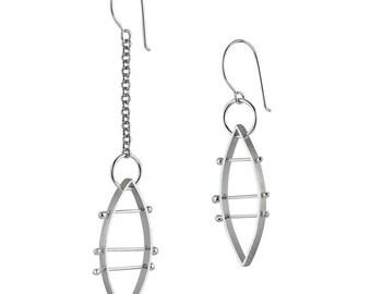 Asymmetrical Earrings - Feminist Jewelry - Silver Sculptural Earrings - Art Jewelry - Marquise Earring Gift for Her - Geometric Earrings