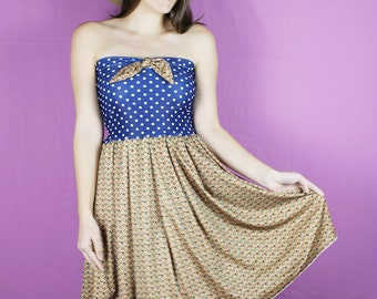 Vintage Blue Dress, Handmade Strapless Dress, Blue polka dot Dress Dress, Handmade retro dress, OOAK dress, BOW Dress, vintage dress