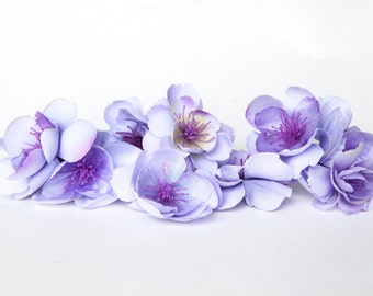 10 Wild and Whimsy Rose Blossoms in Lavender, Light Purple - Silk Flowers, Artificial Flowers - ITEM 01078