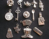 15 Alice in Wonderland Silver Tone Metal Charms