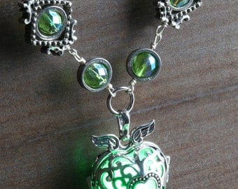 Winged heart necklace with green glowing orb - Lovely Valentine Gift - Antique Silver tone