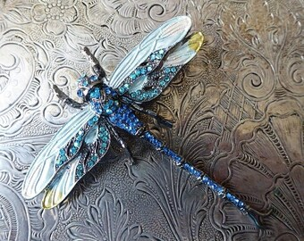 ON SALE Radiant Dragonfly En Tremblant Brooch With Glittering Blue Rhinestones Enamel Painted Wings Gunmetal Finish, Transformable Pendant D