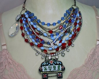 Year of the Rooster - Multi Strand Assemblage Necklace with Antique Chinese Cloisonne, Vintage Rosaries and Rhinestone