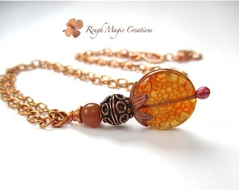 Long Necklace with Pendant, Orange Stone Necklace, Crackled Fire Agate Gemstone, Copper Chain Necklace, Renaissance Jewelry for Women