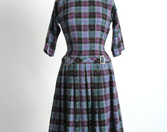 SALE- Purple Plaid WOOL Dress . Drop Waist