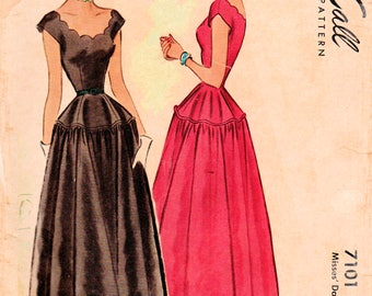1940s McCall 7101 Vintage Sewing Pattern Misses Dance Frock, Formal Dress, Party Dress, Prom Dress Size 14 Bust 34