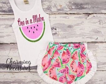NEW One in a Melon Glitter Tank Top and Ruffle Shorts Set, Trendy Baby Toddler Girls Summer Outfit Watermelon shorts, Charming Necessities