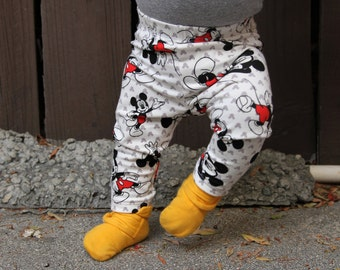 Baby Girl Baby Boy Mickey Mouse Leggings: Toddler Boy Toddler Girl, Mickey Pants, Disney, Disneyland Outfit, Mickey Mouse Pants, Etsy Kid's