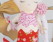 Mermaid Doll Handmade | Spring | Nursery Decor | Birthday Present | Mermaid Toy| Girl Doll | Plush | Flowers |