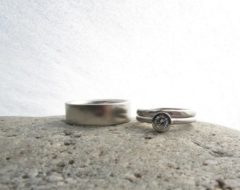 Palladium and quarter carat diamond bridal set, low profile engagement ring, bezel set diamond, matching wedding bands