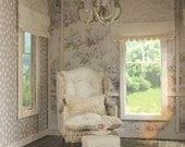 Dollhouse Miniature Custom Handmade Romantic Lace Chair & Ottoman