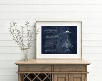 "16 x 20"" F-4 Phantom II fighter plane blueprint, military aircraft art, aviation decor, gifts for dad, veteran gift, airplane blueprint art"