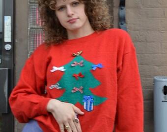 VTG 80s Christmas tree crazy Christmas Sweater Women Size Large