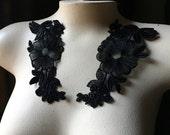 Black Lace Applique PAIR for Lyrical, Ballet, Garments,  Costume Design PR 700