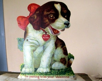 antique dog valentine - large card of a puppy with stand up bracket for display - vintage holiday ephemera