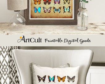 2 Printable images BUTTERFLY COLLECTION to print on fabric or paper transfer sheet for tote bags, t-shirts, pillows, wall art decor ArtCult