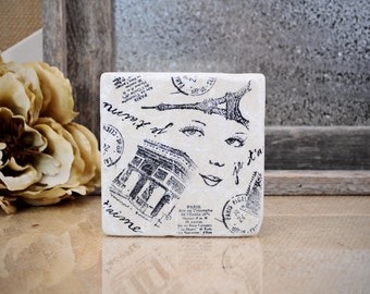 A Trip to Paris Absorbent Stone Tile Drink Coaster
