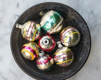 7 Vintage Mercury Glass Christmas Ornaments / Mixed Lot / Shiny Brite Striped Ornaments