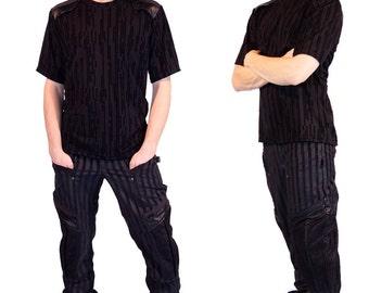 Vaudeville cyberpunk inspired, striped men's pants by Plastik Wrap.