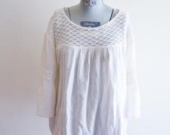 Crochet gauze COTTON angel bell sleeve ethereal festival peasant top sz. Medium