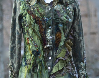 Green brown refashioned SWEATER- boho OOAK Fantasy art to wear. Spring fashion. Size Small/ Medium. Ready to ship.