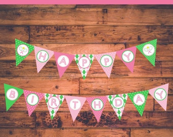 "INSTANT DOWNLOAD: Preppy Tennis Themed Birthday Banner - ""Happy Birthday"""