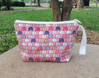 Mini Elephant Party Pink Canvas Zipper Pouch with Strap | Makeup bag | Cosmetic bag | Party bag | Gift bag | Reusable bag | Toiletry bag |