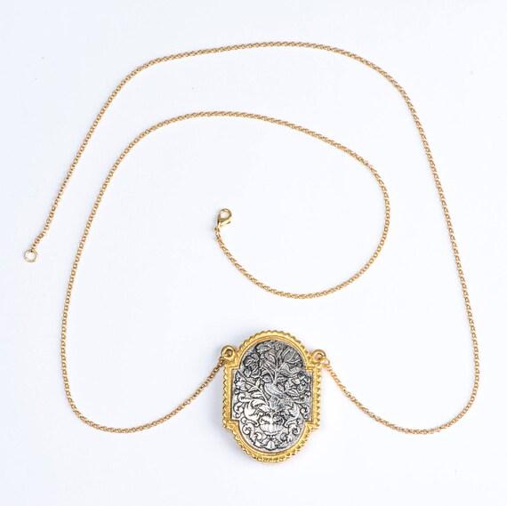 Vintage Statement Necklace Large Locket, Art Nouveau Perfume Pendant, Love Gift, Perfume Necklace, Long Chain Pendant