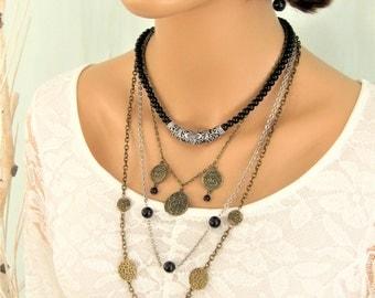 Black Necklace, Beaded Necklace, Multistrand Necklace, Long Black Beaded Necklace, Multi Strand Necklace, Bead Necklace, Long Necklace, N882