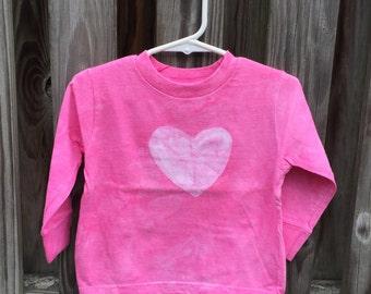 Girls Heart Shirt, Pink Heart Shirt, Long Sleeve Kids Shirt, Girls Long Sleeve Shirt, Pink Girls Shirt, Valentine's Day Shirt (2T) SALE
