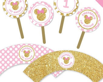 Gold Minnie Mouse Party - Personalized DIY printable cupcake wrappers and toppers set