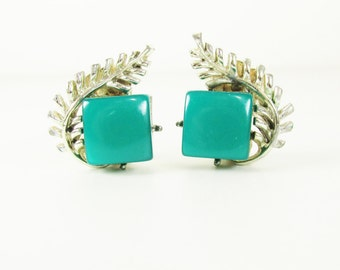 Vintage Coro Earrings with Fern and Green Thermoset Plastic Accents