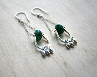 Long Silver Earrings, Green Earrings, Silver Jewelry