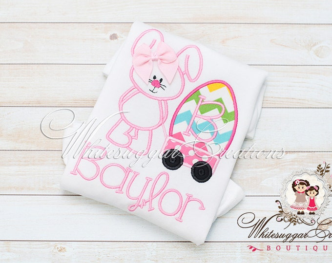 Girls Easter Shirt - Bunny Pulling Wagon Shirt - Personalized Girls Easter Outfit - Baby Girl 1st Easter