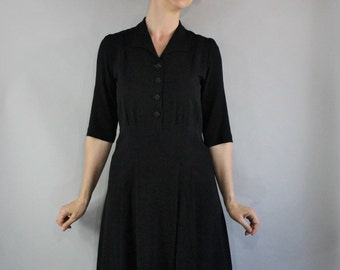40s Swingtime Dress, 1940s Women's Black Basic WW2 WWII Day Dress, Utility Dress, Vintage, Size Medium, FREE SHIPPING
