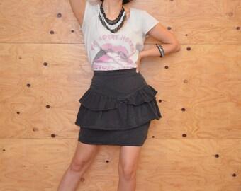 Vintage 80's Classic Punk Black Denim Skirt With Double Peplum