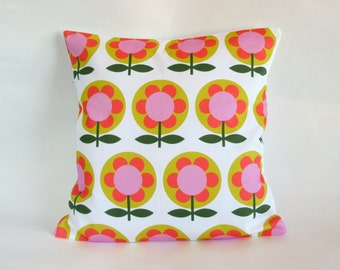 Retro Mod Flower cushion Cover in Mustard Pink Orange and White