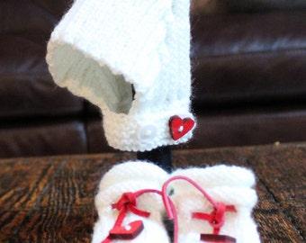 Heart Pixie Bonnet and Booties - Newborn Set
