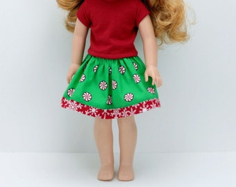 """Christmas Outfit 14.5"""" Doll Clothes - AG Wellie Christmas Outfit - Wishers Doll Clothes - Christmas Skirt and Top"""