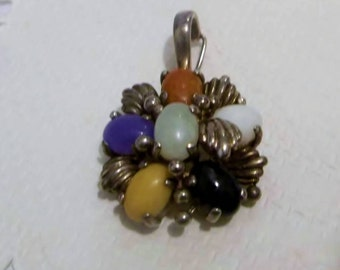 Vintage Sterling Silver, Multi Stone Pendant, Estate Jewelry, Excellent Condition