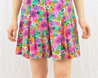 Vintage Floral Shorts, High Waisted Shorts, Size XS, Grunge, Quirky, 90's Clothing, Funky