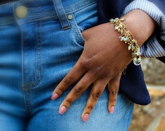Wire Charm Bracelet, Blue Green Bead, Bangle Bracelet, Charm Bracelet, Mothers Bracelet, Herkimer Quartz Jewelry, Multi Strand Bracelet Gift