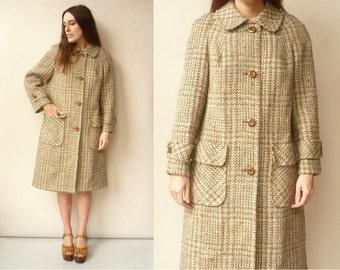 1960's Vintage Irish Tweed Wool Swing Coat With Peter Pan Collar Size Medium